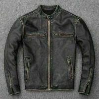 New Men's Motorcycle Biker Vintage Distressed Black Faded Real Leather Jacket