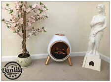 White Free Standing Oval Shaped Modern Flame Effect Electric Fire 900w / 1800w