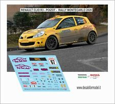 DECALS 1/43 RENAULT CLIO R3 POIZOT RALLY MONTECARLO 2020