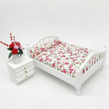 Dollhouse Miniature Bedroom Furniture Wooden Floral Double Bed 1:12 Model Decor