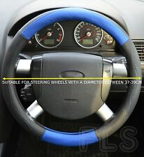 UNIVERSAL PEUGEOT FAUX LEATHER LOOK STEERING WHEEL COVER BLUE