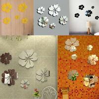1set 3D Spiegel Blumen Wand Aufkleber Acryl For Art Mural Abziehbild Home Dekor