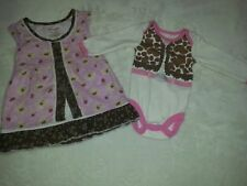 WRANGLER Baby Girl 3-6 Months Dress Pink Brown  Western Lot + Cowgirl One Piece