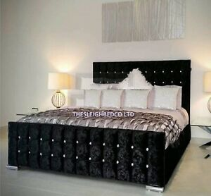Cubed Upholstered Crushed Velvet Double/King Size Bed Frame All Sizes Available
