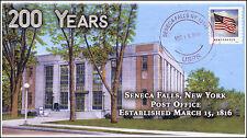 2016, Seneca Falls NY Post Office, Local Postmark, 200th Anniversary , 16-072