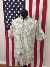 vtg Woolrich Fish Hawaiian Shirt men's XL Tall xlt Fishing rod camp hipster 7938