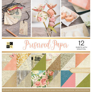 """DCWV Double-Sided Cardstock Stack 12""""X12"""" Preserved Paper, 18 Designs/2 Each"""