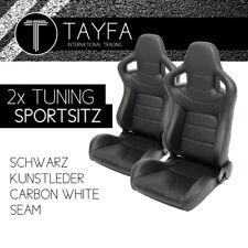 2x Autosportsitz Sportsitz Kunstleder Schalensitz Sportseats White Seam