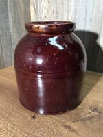 Antique Brown Glaze Stoneware Crock Vintage Pottery J4