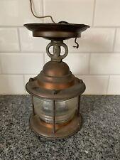 Vintage Antique Copper Nautical Fresnel Lens Light Fixture