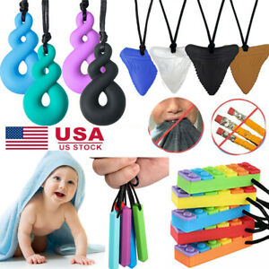 Kids Baby Chewlery Gem Necklace Autism ADHD Biting Sensory Chew Teething Toys US