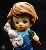 1978 Westwood Little Charmer Little Boy in Blue Bunny Rabbit & Carrots Figurine
