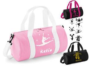Personalised Dance Bag Girls Ballet Dancer Pink Black Fuchsia Gym Kit Bag