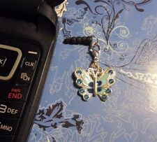 Rhinestone Butterfly Cell Phone Charm~Dust Plug Cover~Smartphone~Free Ship