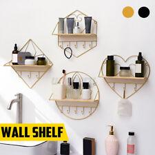 Wall Mounted Shelf Metal Wire Rack Storage Unit Hooks Key Hanging Hanger Love UK