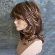 Fashion Women Medium Side Bang Highlighted Layered Slightly Curled Synthetic Wig