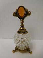 Vintage Gold Tone Jeweled Filigree Ormolu Vanity Perfume Bottle with Dauber