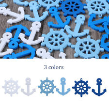 100 Wooden Pieces Mini Hanging Anchor Helm Nautical Sea Themed Craft Decoration