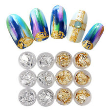 12PC Nail Art Gold Silver Paillette Flake Chip Foil DIY Acrylic UV Gel Pager NEW