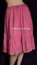 New Cotton Tier Skirt Gold Print Beach Boho Hippie Yoga Organic M Hot Pink