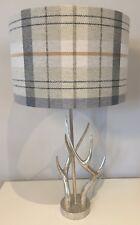 Prestigious Textiles Lampshade In Cairngorm Oatmeal Grey Beige Check Tartan 40cm