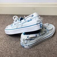 VANS Women's UK Size 6.5 White/Turquoise Boat Shoes Sneakers