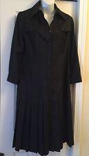 "Carlisle Per Se ""Trench"" Black Silk Pleated Dress Size 10 w/ Belt $500+"