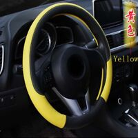 Universal Anti-slip Leather Colorful Embossing Car Steering Wheel Covers Yellow