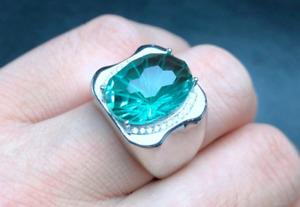 Oval Cut 9 Carat Fresh Blue Topaz Sterling Silver 925 Handmade Topaz Mens Ring