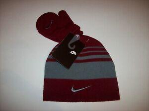 Nike Hat Mitten Set Toddler Team Red Gray Swoosh 2pc New