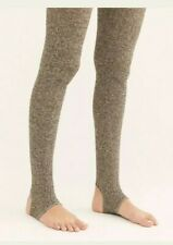 NWT Free People Peekaboo Ribbed Tights Taupe Stockings Sz S/M