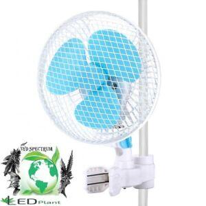 """FAN 6"""" 2-Speed Fan Clip On Oscillating Fan for Hydroponic Grow Tent 1"""" Pole"""