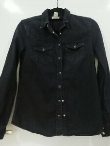 Women Levis Black Denim Shirt Small