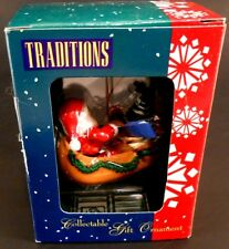 Santa Claus in a Reindeer Figurehead Canoe Christmas Ornament New in Box