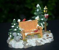 Dept 56 Mill Creek Park Bench SQUIRREL CARDINALS Snow-Dusted Pines Acc'y Lovely!