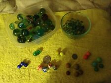 Lot Of Vintage Marbles, Shooters and PeeWees, Clay, Double Marble Uncut