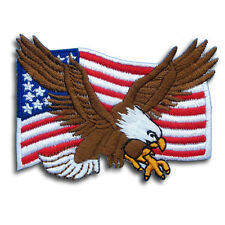 American Flag Eagle Military Patch Iron On Harley Biker Motorcycle Army Flying