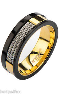 BOLD MENS INOX GOLD IP STAINLESS STEEL BLACK TRIM INLAYED CABLE BAND RING