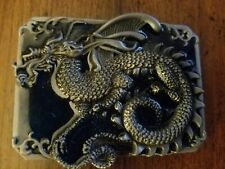 Dragon Belt Buckle Cast Pewter With Acrylic Inlay New