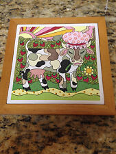 "Vintage Cow with bonnet & strawberries trippy tile trivet decorative  6""x6"""
