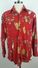 PANHANDLE SLIM Large Red 100% Cotton Mens Long Sleeve Button Front Shirt