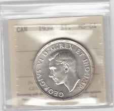 1939 Canada Silver Dollar - ICCS MS-64 Cert #XMV 723