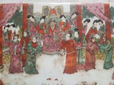 CHINE, famille rose ou verte : ancienne plaque décorée scène empereur