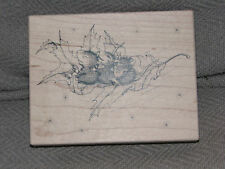 Stampa Rosa House Mouse FLOATING ON A LEAF [3MICE][4.5X3.5] C45 Rubber Stamp
