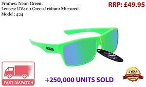 RayZor Sports Wrap Sunglasses Neon Green Uv400 green Mirrored Lens (424)