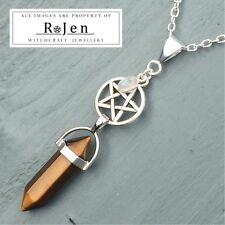 Golden Tigers Eye Point & Silver Rainbow Moonstone Charm, Pentagram Pendant