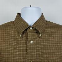 Jos A Bank Signature Collection Brown Check Plaid Mens Dress Button Shirt Medium