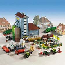 Kibri HO Kit Grain Elevator w/Storage Tanks & Garden Center w/Tractors #9901