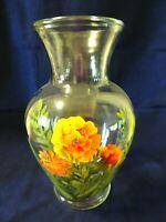 "11"" Clear Glass Cut Flower Vase/Urn-Hand Painted Flowers-Orange/Green-#13 Base"