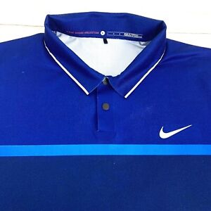 Nike Tiger Woods Collection Men's Dri-Fit Snap Button Polo Shirt Blue Large